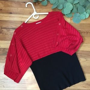 Red Shimmer Short Sleeve Sweater with Black Waist